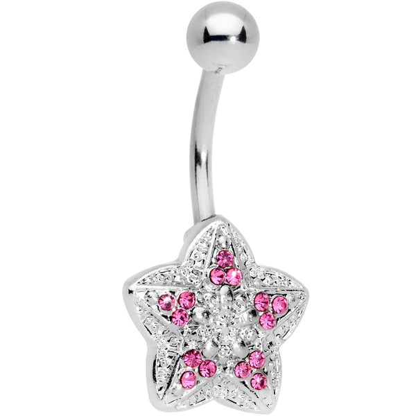 Pink Gem Encrusted Chunky Star Belly Ring