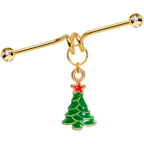 Gold Tone Anodized Christmas Tree Star Dangle Industrial Barbell 40mm