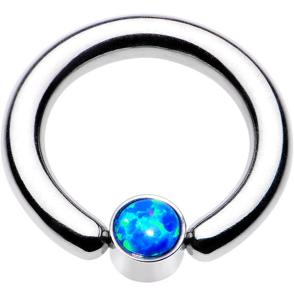 8 Gauge 1/2 Aqua Faux Opal 5mm Disc BCR Captive Ring