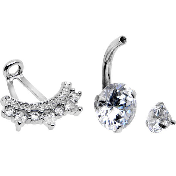 Clear CZ Gem Icy Bling Dangle Belly Ring