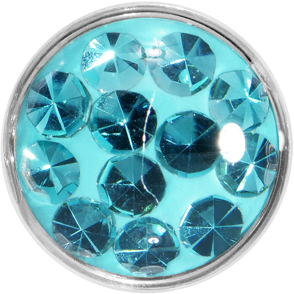 8 Gauge Zircon Blue Ferido Crystal Steel Screw Fit Plug Set