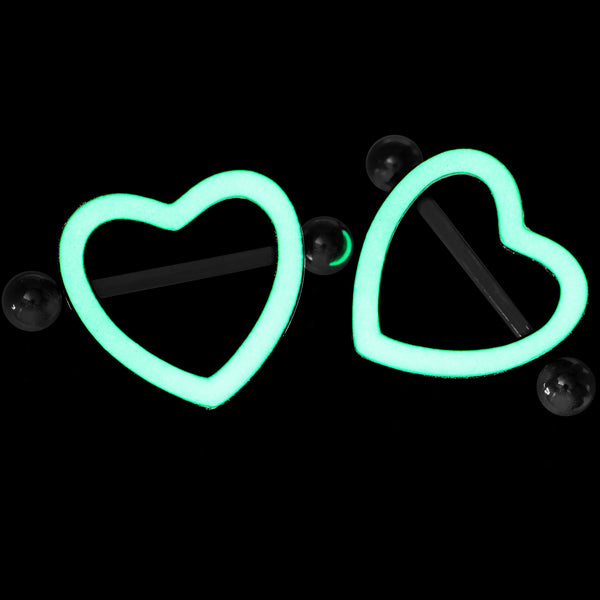 3/4 Green Glow in the Dark Valentine Heart Nipple Shield Set
