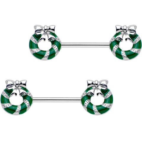 "9/16"" Minty Green Christmas Candy Cane Wreath Barbell Nipple Ring Set"