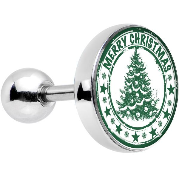 16 Gauge 1/4 Merry Christmas Tree Tragus Cartilage Earring