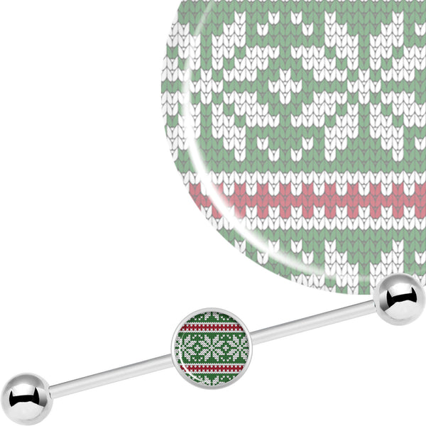 14 Gauge Green Red Christmas Sweater Industrial Barbell 37mm
