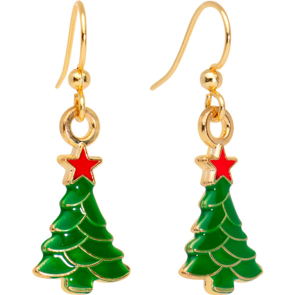 Gold Plated Christmas Tree Star Fishhook Earrings