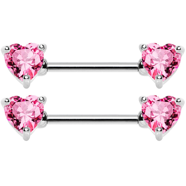 14 Gauge 9/16 Multi Color Heart Gem Barbell Nipple Ring Pack Set of 6