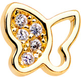 20 Gauge 1/4 Clear CZ Gem Gold Tone Butterfly L Shaped Nose Ring