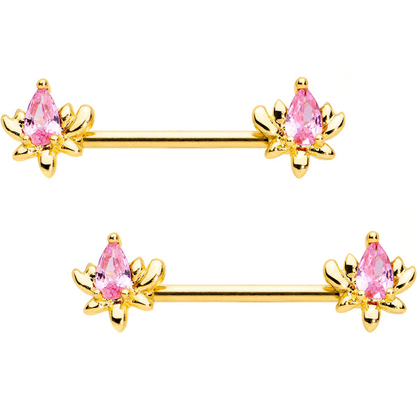 Pink Gem Gold Tone Anodized Fiery Flame Barbell Nipple Ring Set