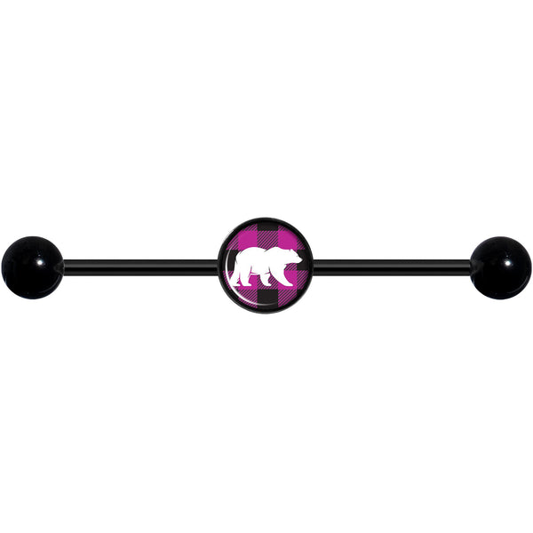 14 Gauge Pink Black Plaid Polar Bear Black Industrial Barbell 37mm