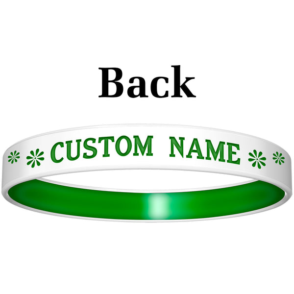 Personalized White Green Peace Silicone Religious Message Bracelet