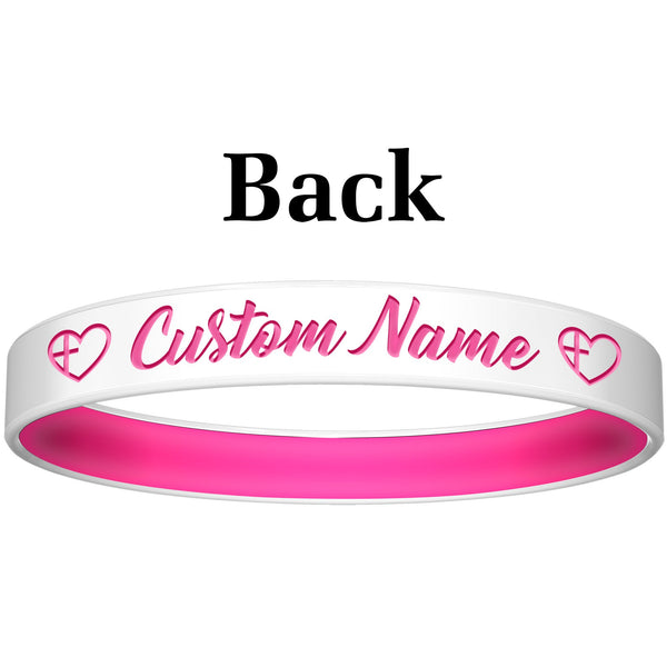 Personalized White Pink He Walks Silicone Religious Message Bracelet
