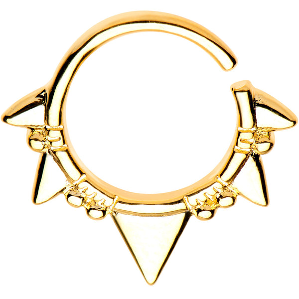 16 Gauge 5/16 Gold Plated Boho Triangles Seamless Circular Ring