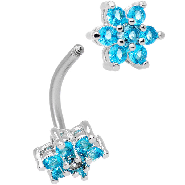 Clear Aqua Gem Double Star Reversible Double Mount Belly Ring