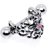 16 Gauge 1/2 Pink Gem Filigree Floral Cuff Cartilage Earring