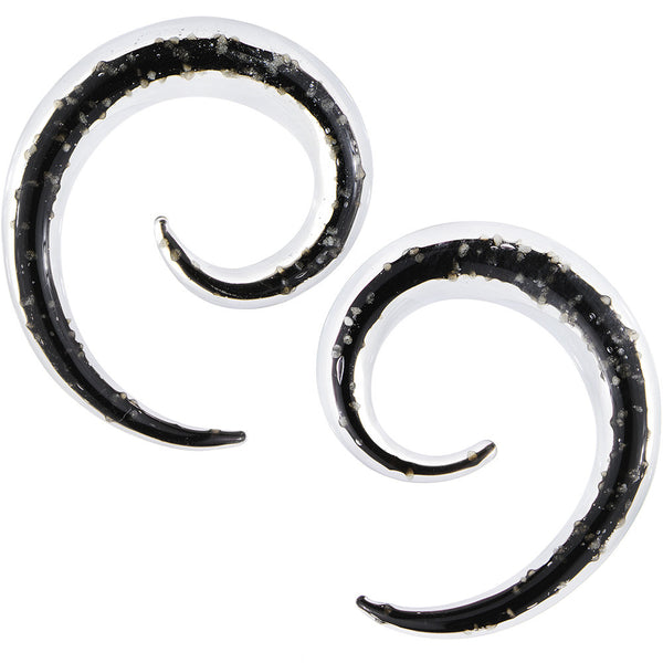 2 Gauge Clear Black Glass Glow in the Dark Spiral Taper Set