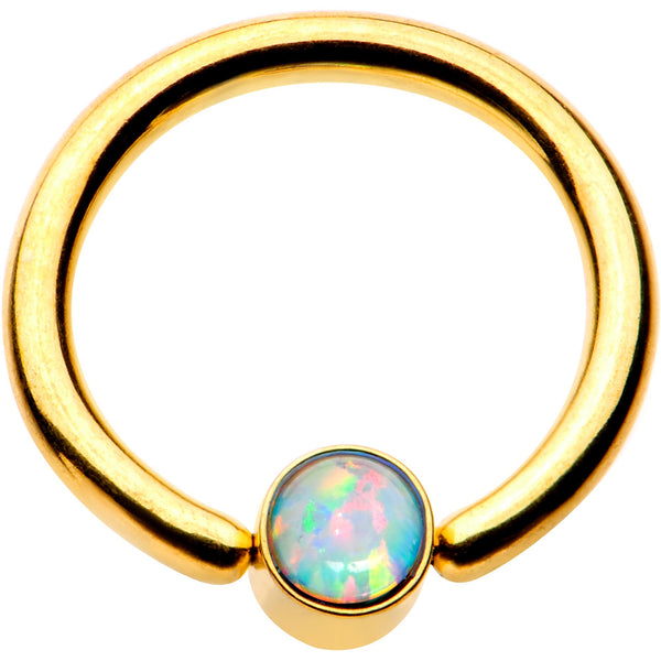 16 Gauge 5/16 White Faux Opal 3mm Disc Gold IP BCR Captive Ring