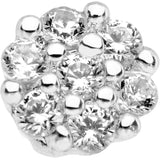 1/4 Clear CZ Gem Cute Cluster L Shaped Nose Ring