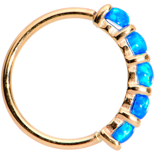 20 Gauge Blue Synthetic Opal 14kt Yellow Gold Seamless Circular Ring