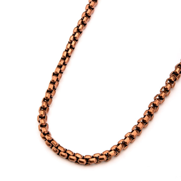 Mens Stainless Steel Rose Gold IP 8.3mm Round Box Chain Bracelet