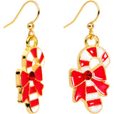 Red CZ Gem Gold Plated Bow Candy Cane Fishhook Earrings