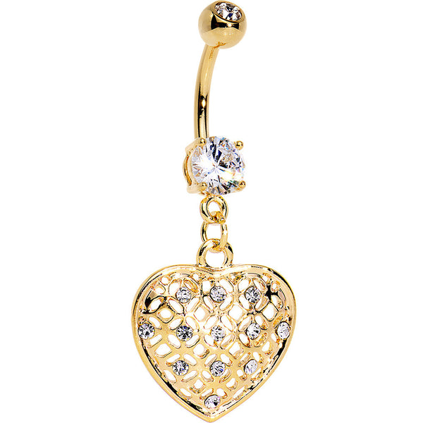 Clear Gem Gold Plated Falling for Sparkle Heart Dangle Belly Ring
