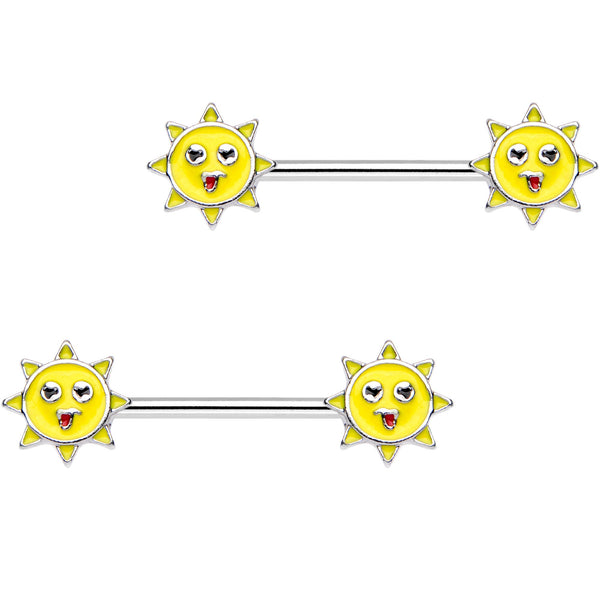 14 Gauge 9/16 Yellow Sunshine Barbell Nipple Ring Set