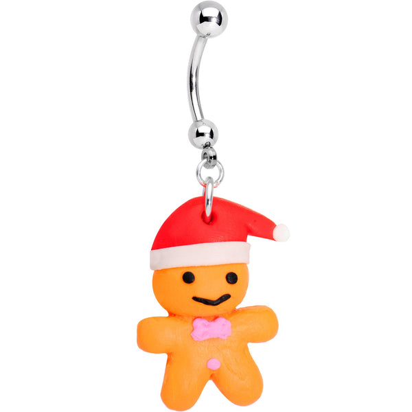 Holiday Gingerbread Santa Dangle Belly Ring