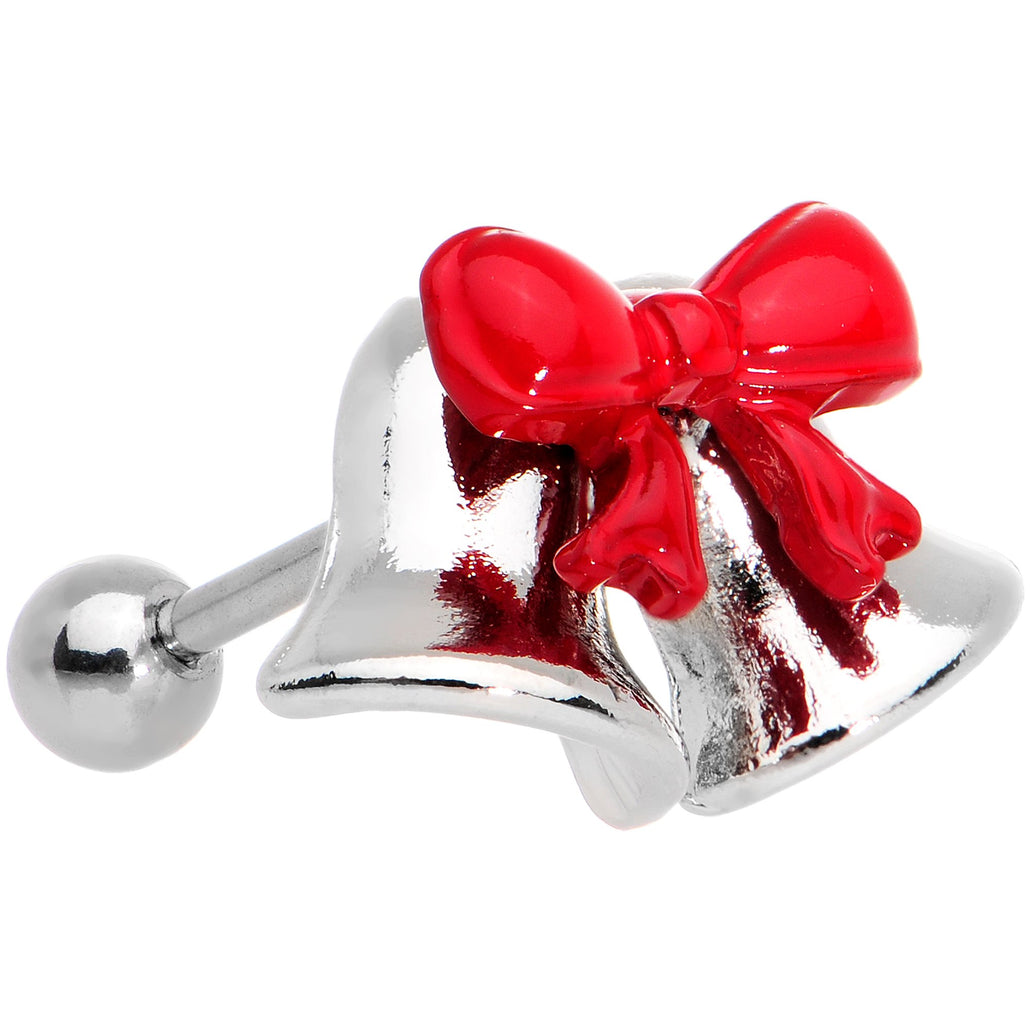 "16 Gauge 1/4"" Red Bow Ringing Holiday Bells Tragus Cartilage Earring"