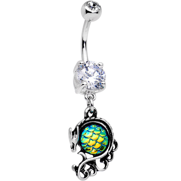 Clear CZ Gem Green Mermaid Scale Dragon Dangle Belly Ring