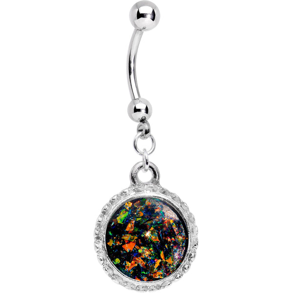 Handcrafted Black Faux Opal Splash Dangle Belly Ring
