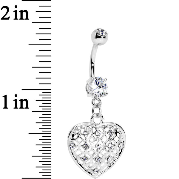Clear Gem Steel Falling for Sparkle Heart Dangle Belly Ring