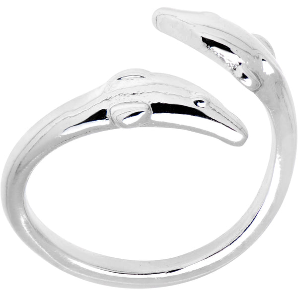 Silver Plated Double Dolphin Toe Ring