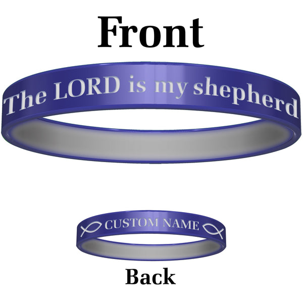 Personalized Blue Green Lord Silicone Religious Message Bracelet