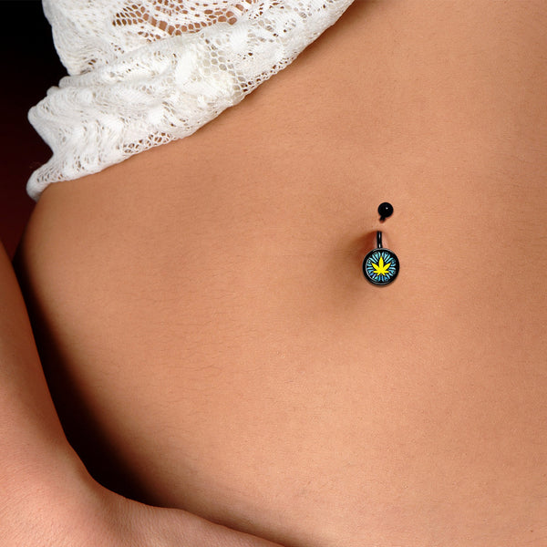 Watercolor Pot Leaf Black Belly Ring