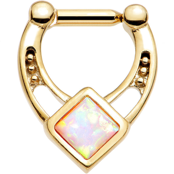 14 Gauge 1/4 White Faux Opal Gold Anodized Glamour Septum Clicker