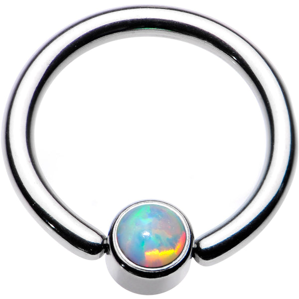 14 Gauge 3/8 White Faux Opal 4mm Disc BCR Captive Ring