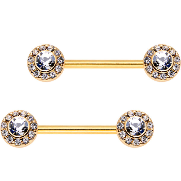 9/16 Clear CZ Gem Gold Plated Bejeweled Barbell Nipple Ring Set