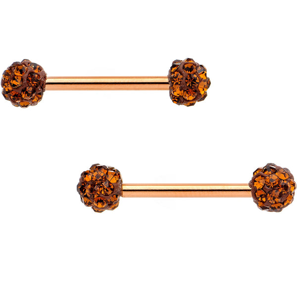 Chocolate Gem Rose Gold Tone Anodized Sparkle Barbell Nipple Ring Set