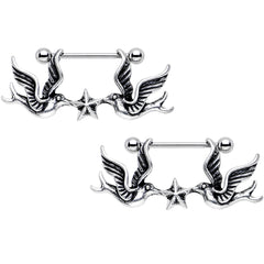 Body Candy Stainless Steel Birds Nautical Star Dangle Nipple Shield Set of 2 14 Gauge 7//8