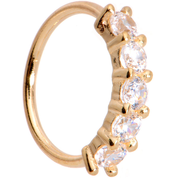 20 Gauge 1/4 Clear CZ Gem 14kt Yellow Gold Seamless Circular Ring