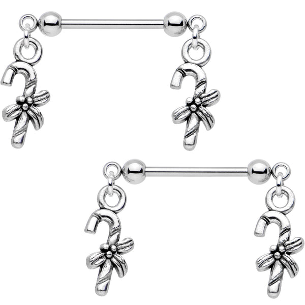 5/8 Holiday Candy Cane Dangle Barbell Nipple Ring Set