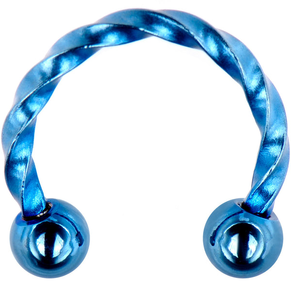 16 Gauge 5/16 Light Blue IP Seriously Twisted Horseshoe Curved Barbell