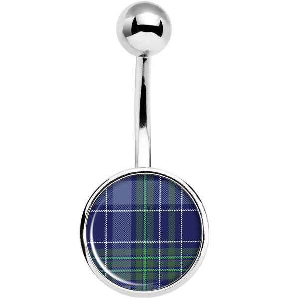 Holiday Blue Green Plaid Belly Ring