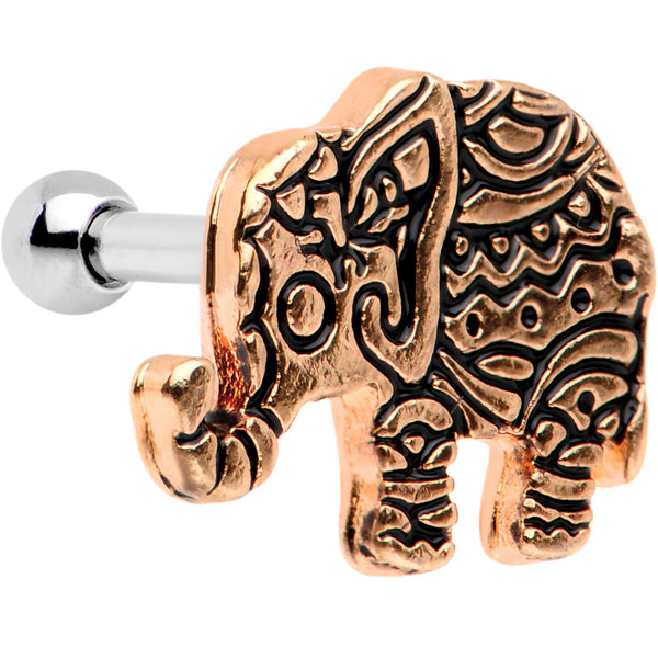16 Gauge 1/4 Rose Gold Tone Boho Elephant Tragus Cartilage Earring