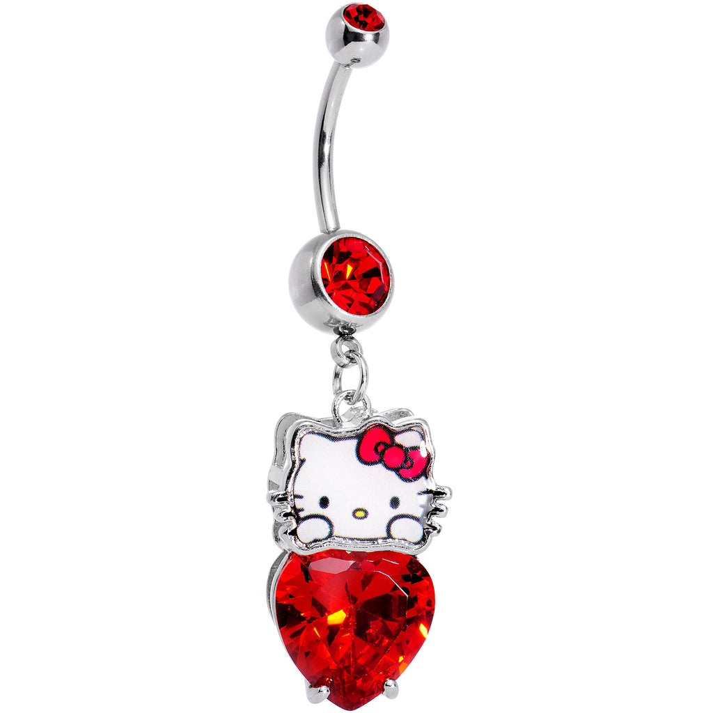 Officially Licensed Hello Kitty Red Gem Heart Dangle Belly Ring