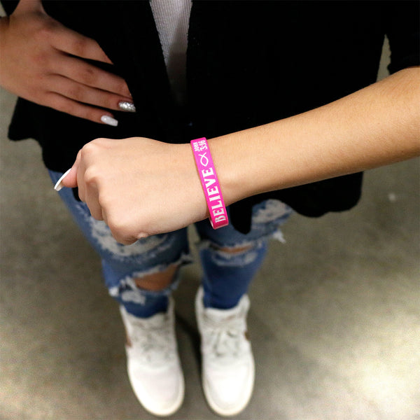 Personalized Pink White Believe Silicone Religious Message Bracelet