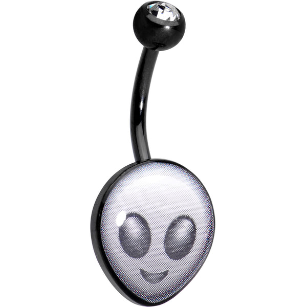 Licensed Alien Head emoji Clear CZ Gem Black Anodized Belly Ring