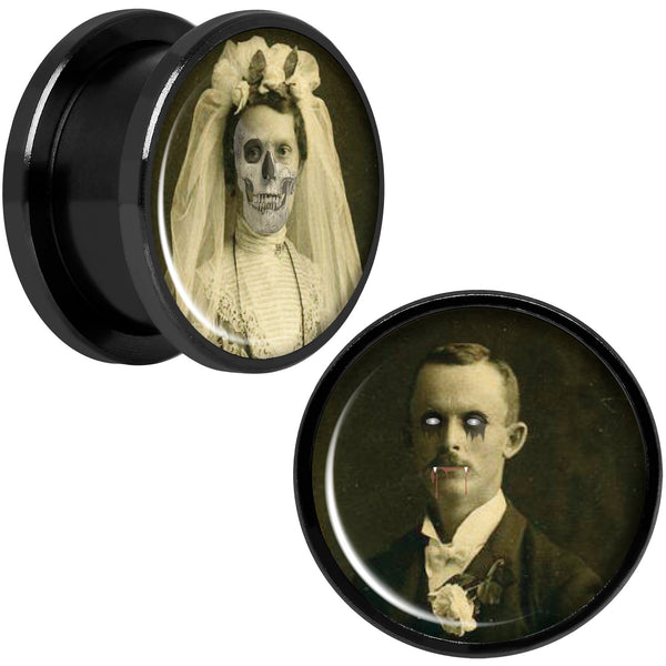 Undead Bride and Groom Halloween Black Anodized Plug Set 5/8