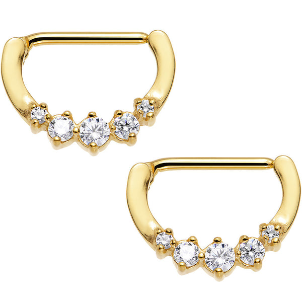 Clear Gold PVD Glam Nipple Clicker Set Created with Swarovski Crystals